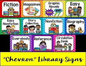 Library Chevron Posters Bundle: Dewey Decimal + (EDITABLE) Library Section Signs