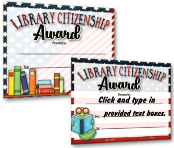 Library Citizenship Awards – {Fillable} 1