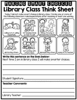 Library Class Student Reflection - Behavior - Think Sheet