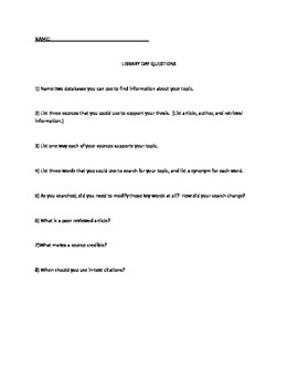 Library Day Questions