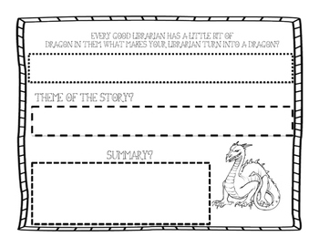 Library Dragon Exit Ticket with Summary and Theme