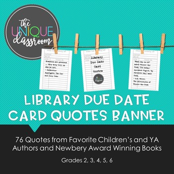 Library Due Date Card Quotes Banner By The Unique Classroom Tpt