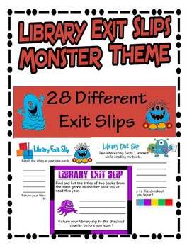 Library Exit Slips Monster Theme