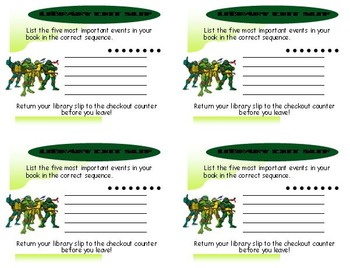 Library Exit Slips Turtle Theme