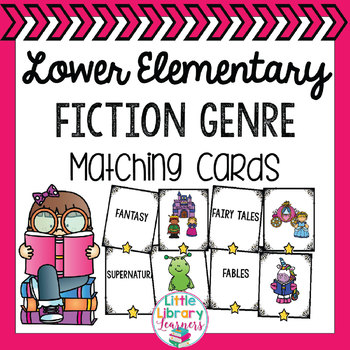 Library Fiction Genre Matching Cards- Lower Elementary