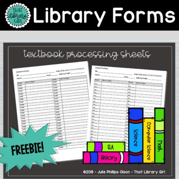 Library Forms - Textbook Processing Sheets for Assigning Barcodes