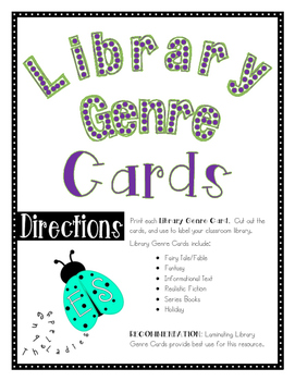 Library Genre Cards