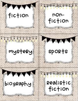 Library Genre Labels Burlap
