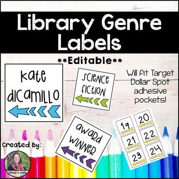 Library Genre Labels *Editable* {BONUS: Book Bin Numbers 1-36!}