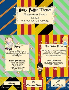 Library Genre Poster Pack with Labels- Harry Potter Theme