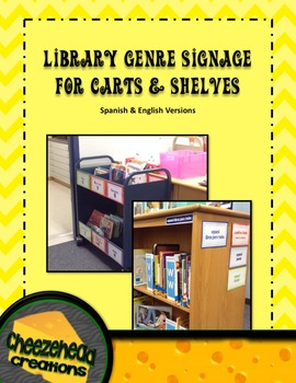 Editable Library Signage for Carts & Shelves - Spanish & English Versions!