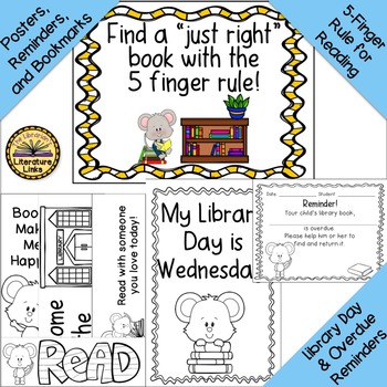 Library Introduction Unit A Mouse at the Library Story, Book Care, Bookmarks