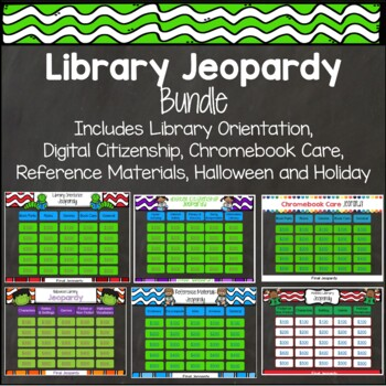 Library Jeopardy Bundle - Orientation, Digital Citizenship, Halloween, Holiday