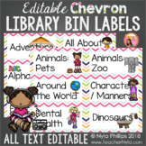 Chevron Library Labels with Pictures - Editable