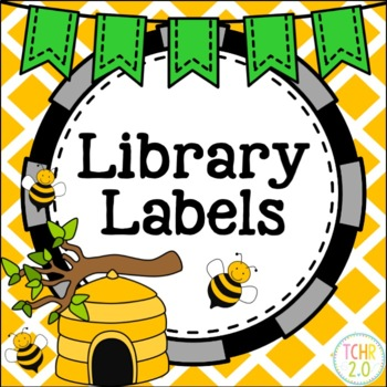 Library Labels Bees Title, Author, Subject Editable