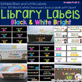 Library Labels Black and White Brights