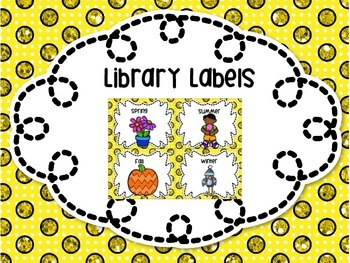 Library Labels By Topic or Category 31 Labels! Yellow Polka Dots
