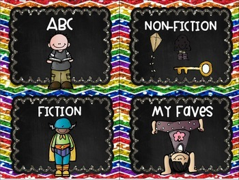 Library Labels By Topic or Category 38 Labels! Rainbow Chalkboard Chevron Theme