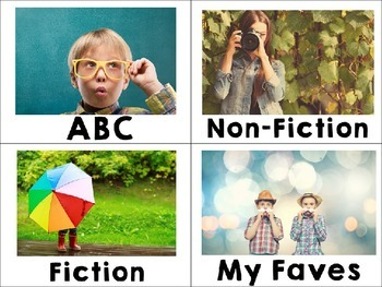 Library Labels By Topic or Category with Photos White Theme Editable 48 Labels