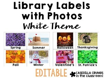 Library Labels By Topic or Category with Photos White Them