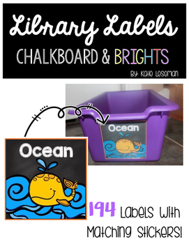 Library Labels - Chalkboard and Rainbow