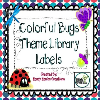 Library Labels Colorful Bug Theme