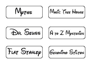 Library Labels Disney Fonts