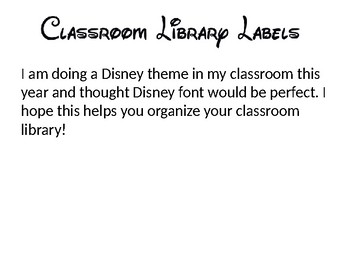 Library Labels Disney Fonts