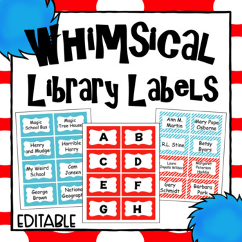 Editable Library Labels- Whimsical Theme Class Decor