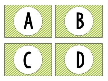 Library Labels - Green Diagonal Stripes