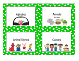 Library Labels - Green w/ white dots