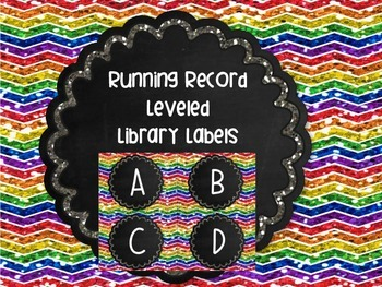 Library Labels Leveled Running Record or Guided Reading Set Rainbow Chalkboard
