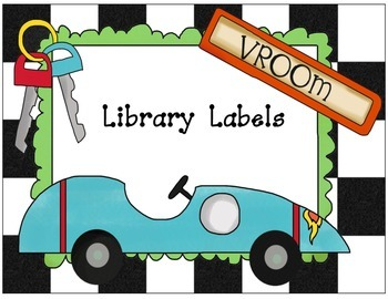 Library Labels--Race Car Theme