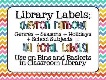 Library Labels - Rainbow Chevron Editable