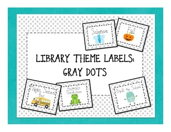 Themed Library Labels - Gray Dots