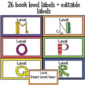 Editable Classroom Library Labels Wavy Themed