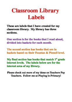 Library Labels Word Document