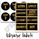 Library Labels and Tags - Classroom Decor Black and Gold