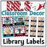 Library Labels in a Dr. S Inspired Classroom Decor Theme