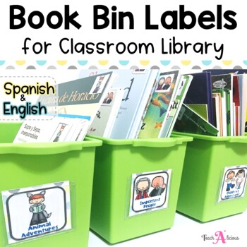 Library Labels with pictures (In English and Spanish)