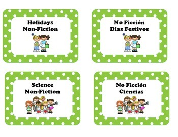 Library Lables for Clasroom Library in Spanish & English  Editable!