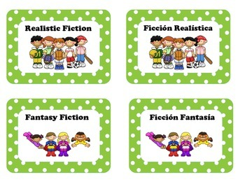 Library Lables for Clasroom Library in Spanish & English