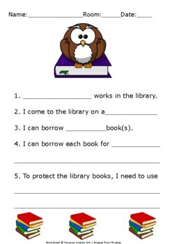 Library Lesson First Day Information Worksheets