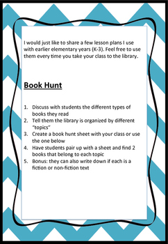 Library Lesson Plan #2 Elementary School Book Hunt (Topic/Genre Study Intro)