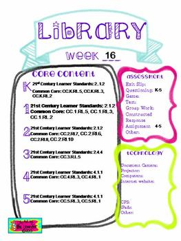 Library Lesson Plans K-5 Week 17