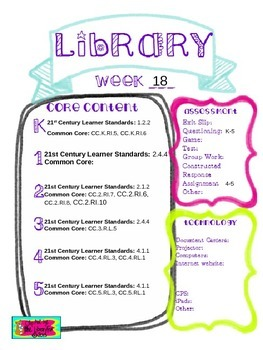 Library Lesson Plans K-5 Week 18