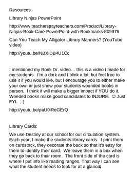 Library Lesson Plans K-5 Week 2