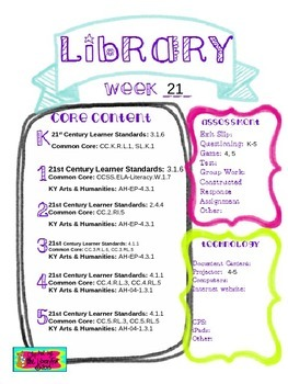 Library Lesson Plans K-5 Week 21