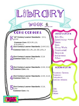 Library Lesson Plans K-5 Week 6