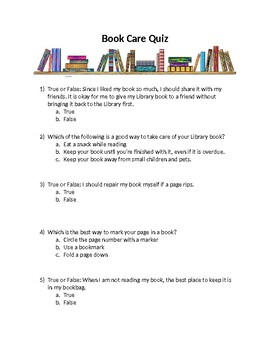 Library Lesson Quiz: Book Care EDITABLE